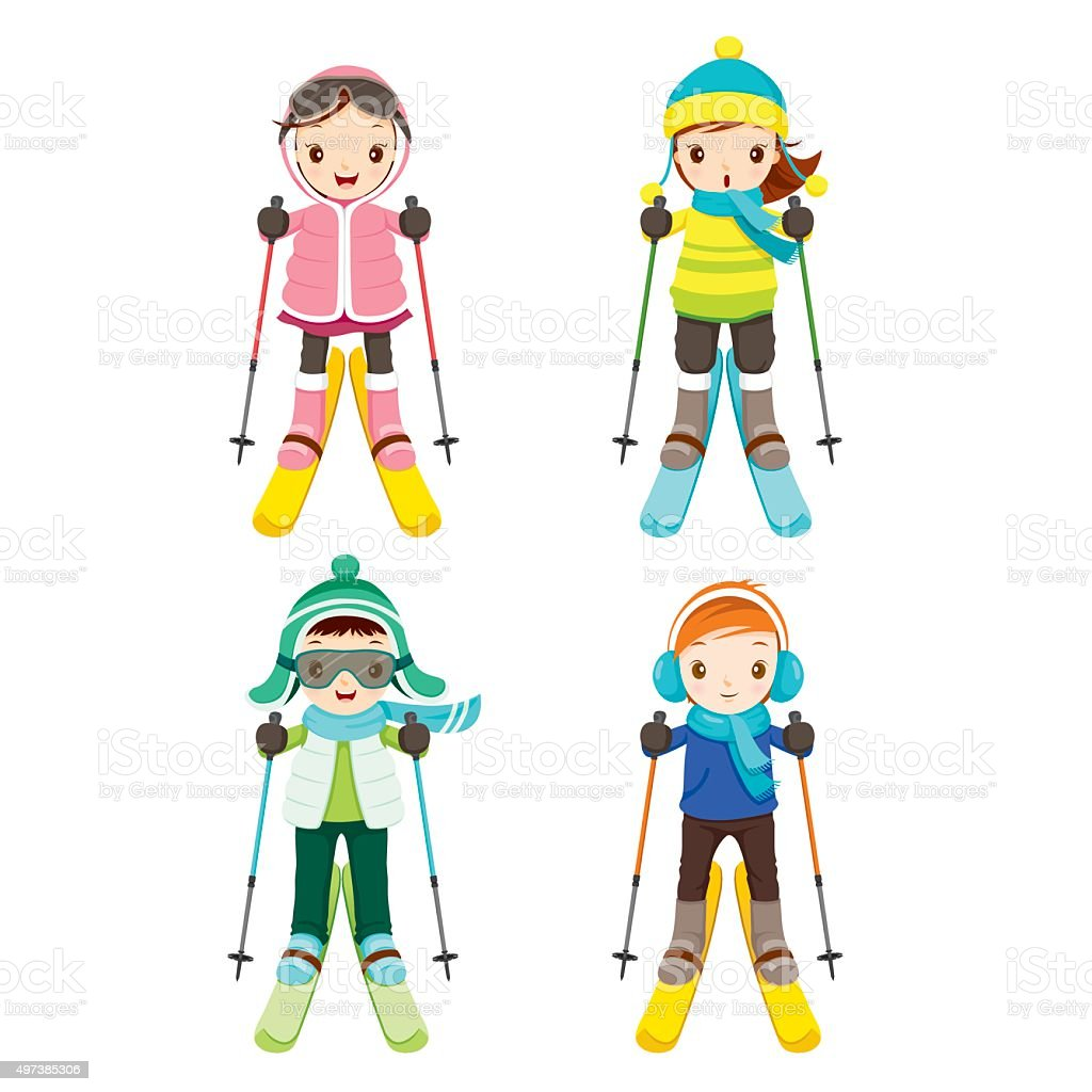 Boy And Girl In Skiing Clothing Set vector art illustration