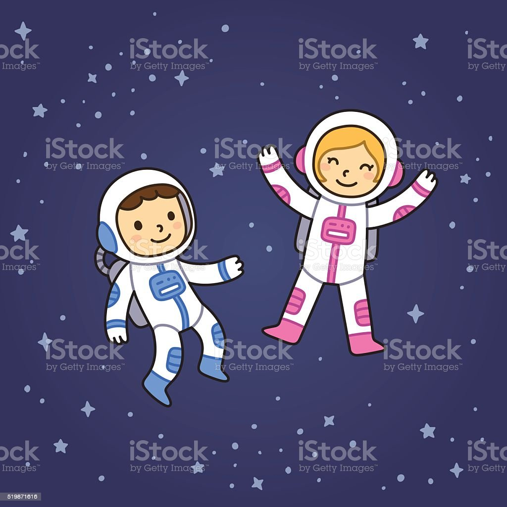 Boy and girl in space vector art illustration