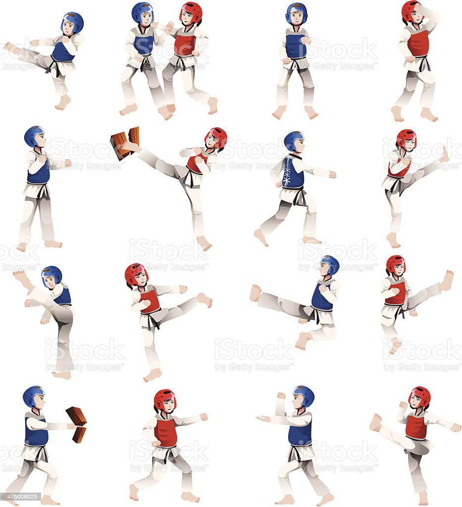 Boy and girl in taekwondo outfit vector art illustration