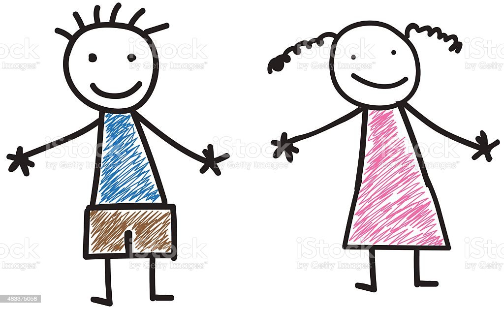 boy and girl kids drawing stock vector art 483375058 istock - Picture Of Drawing For Kid
