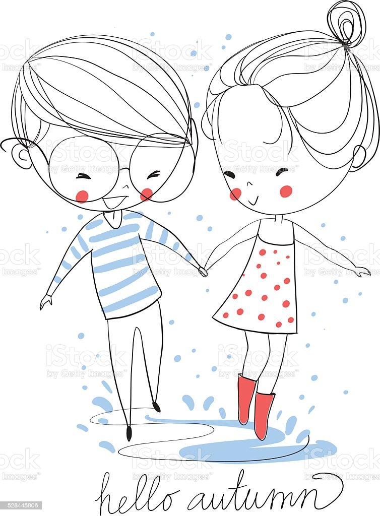 Boy and girl. Love cards. Theme autumn. royalty-free stock vector art