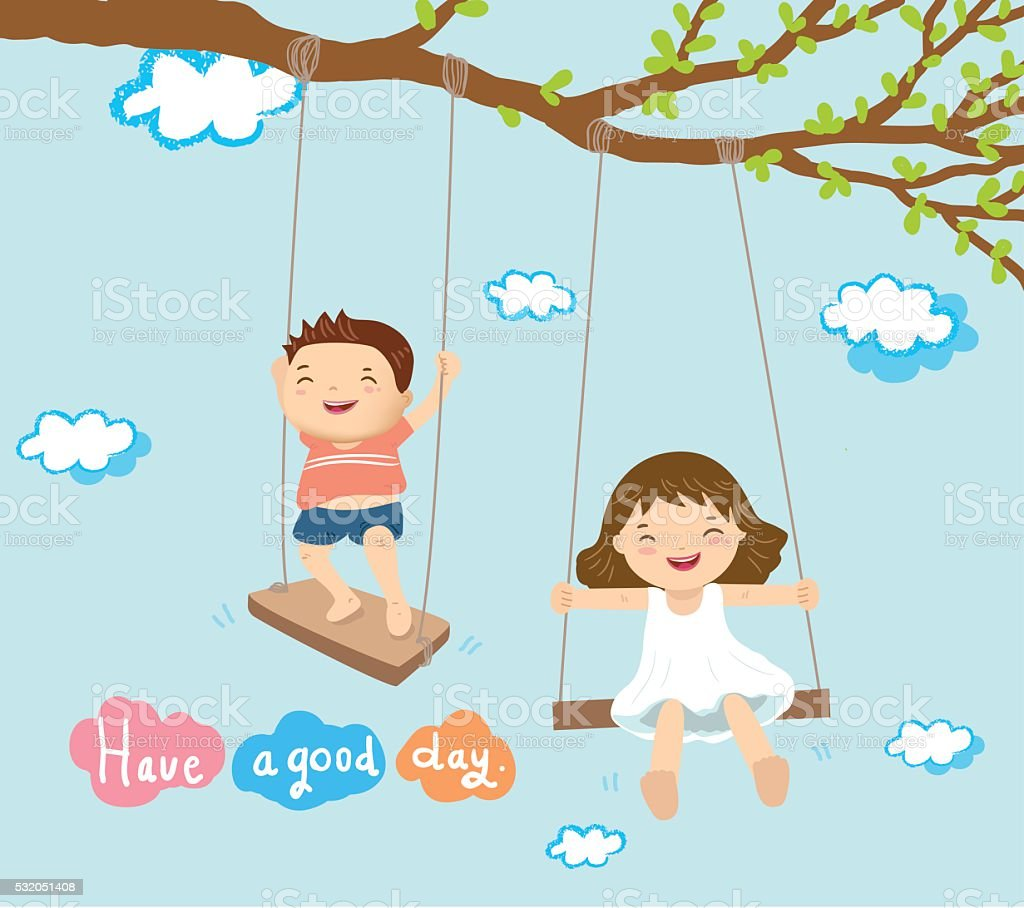 boy and girl playing on swing vector art illustration