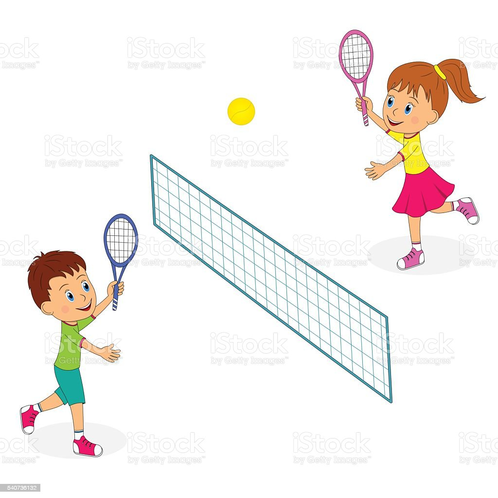 Playing tennis clipart