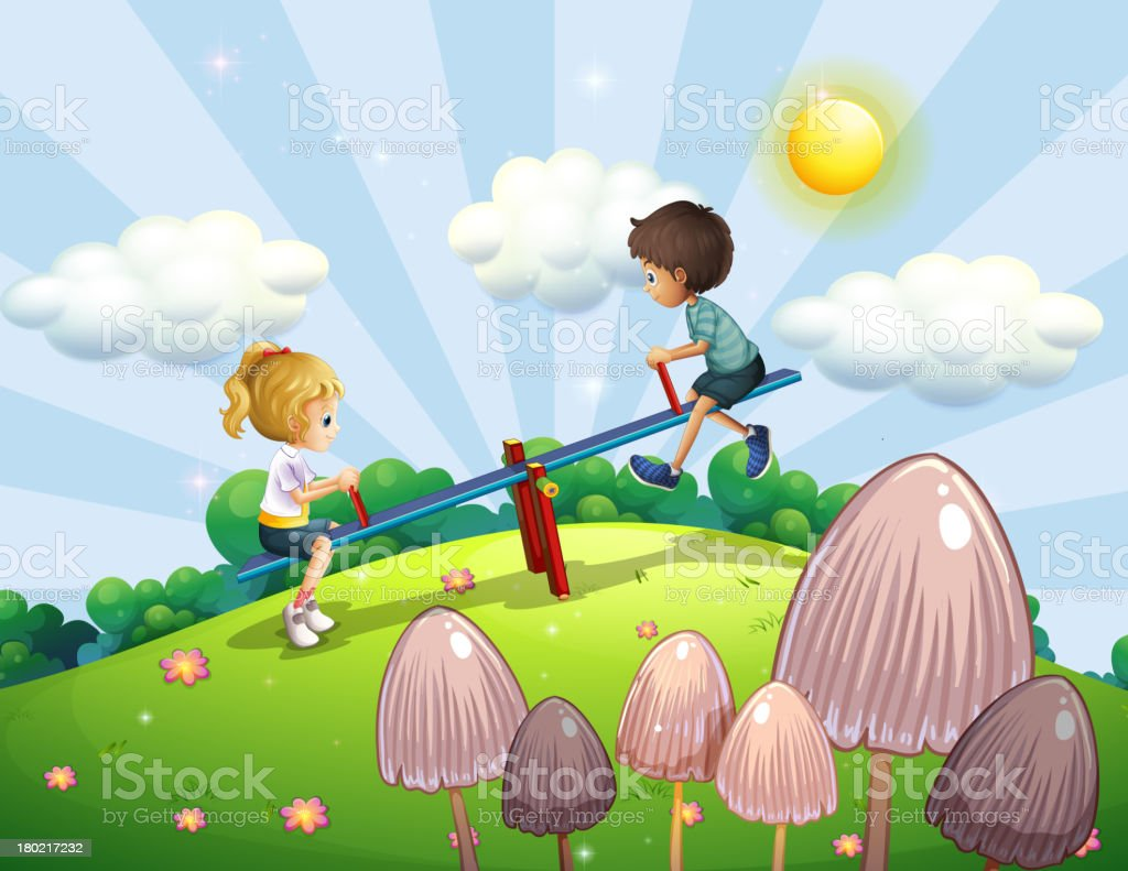Boy and girl riding a seesaw royalty-free stock vector art