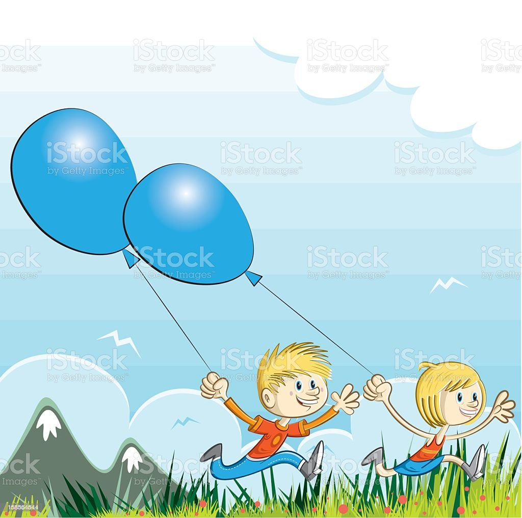 boy and girl running into the nature vector art illustration