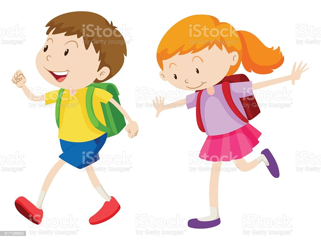 Boy and girl running to school vector art illustration