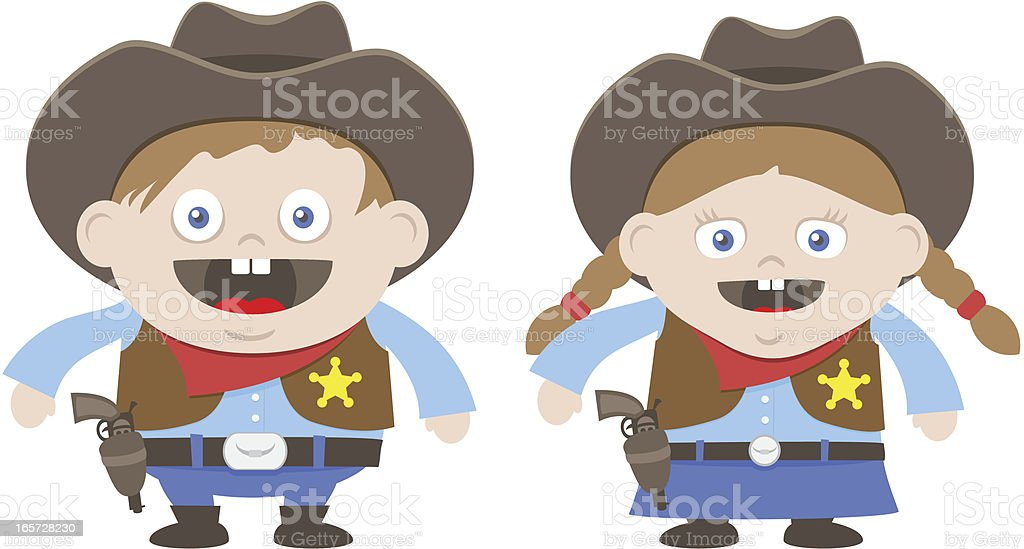 Boy and Girl Sheriff royalty-free stock vector art