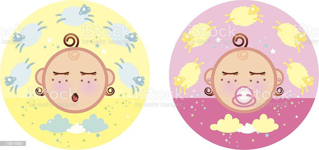 boy and girl sleeping baby vector art illustration