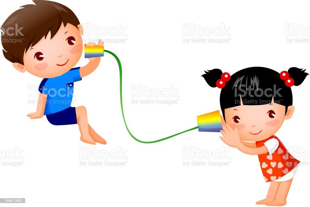 Boy and Girl vector art illustration