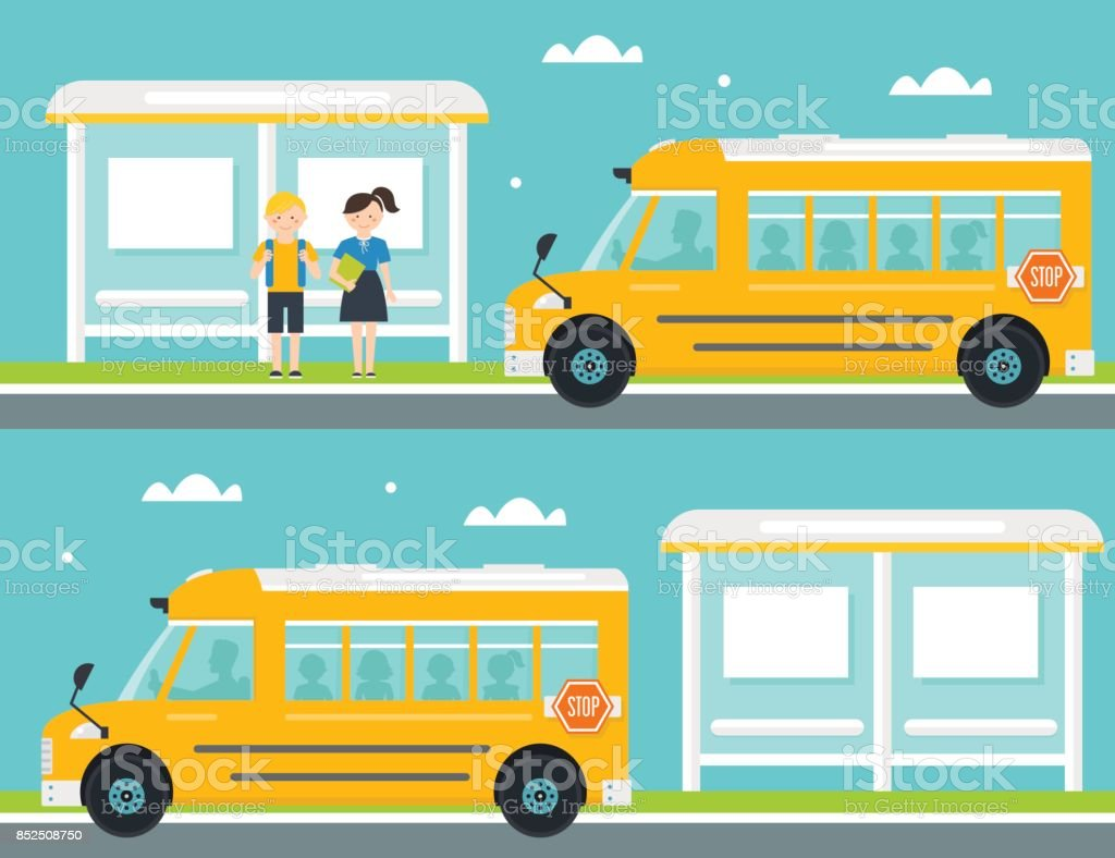 Boy and Girl Waiting for School Bus at Bus Stop vector art illustration