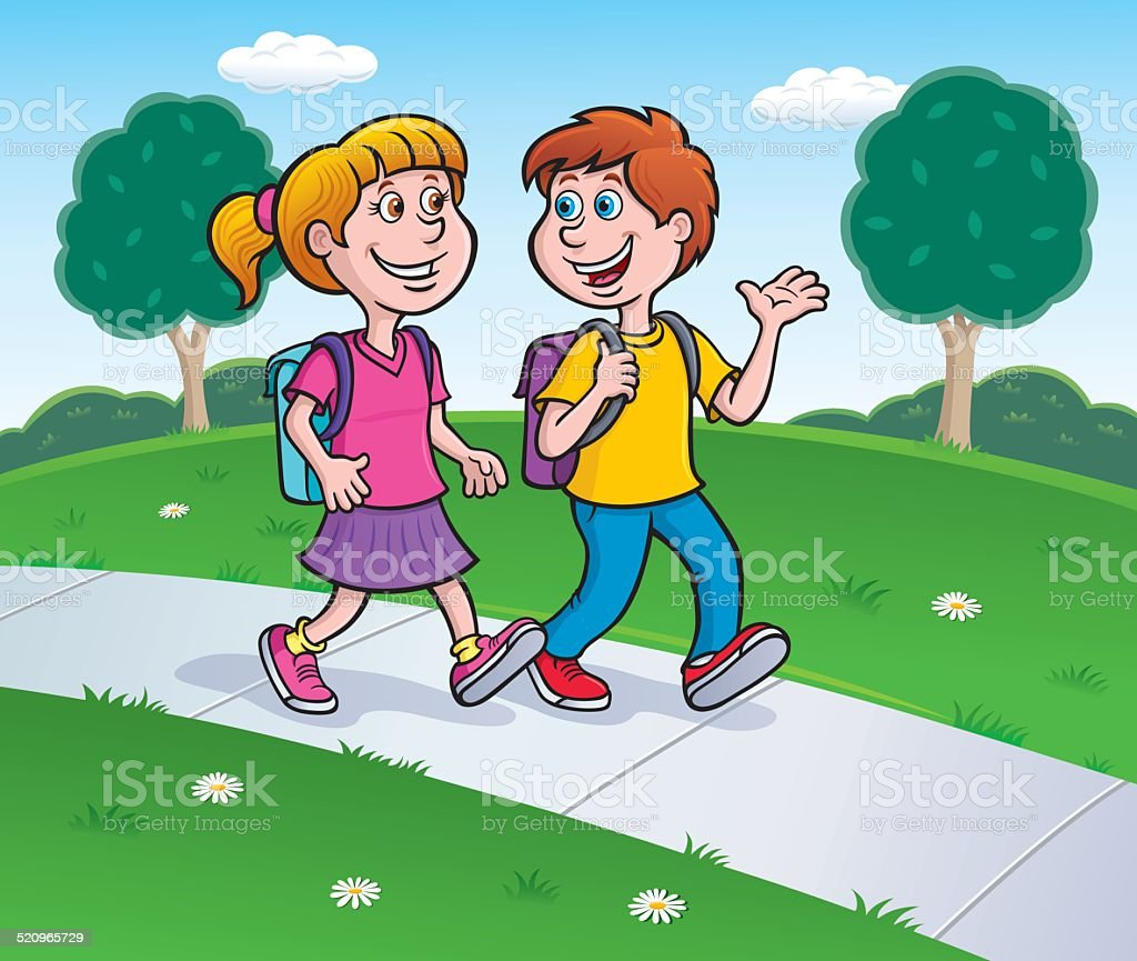 Boy and Girl Waling to School with Backpacks On vector art illustration