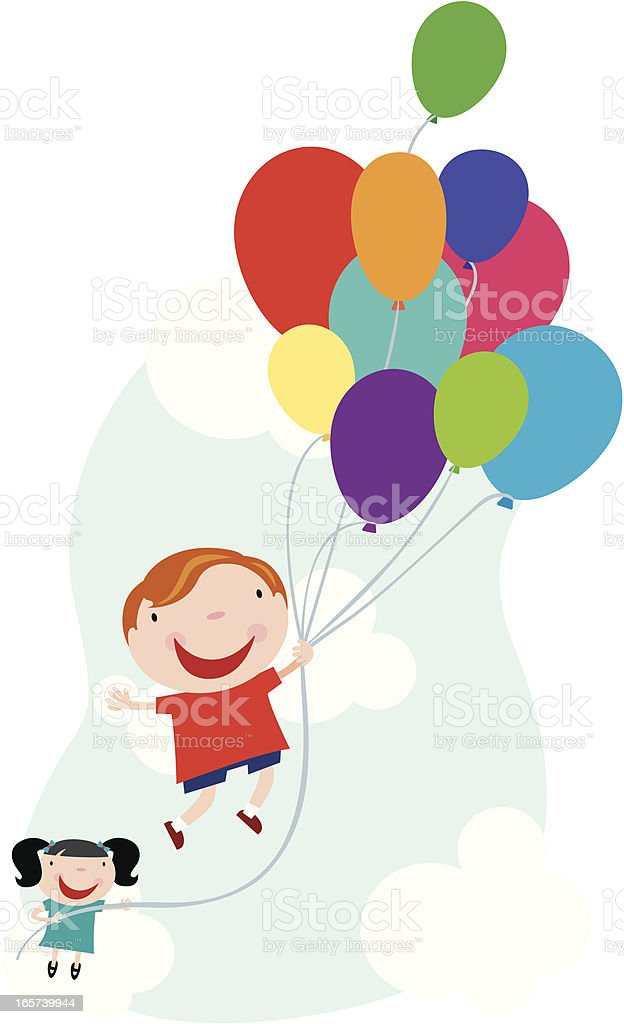 Boy and Girl with Balloons royalty-free stock vector art