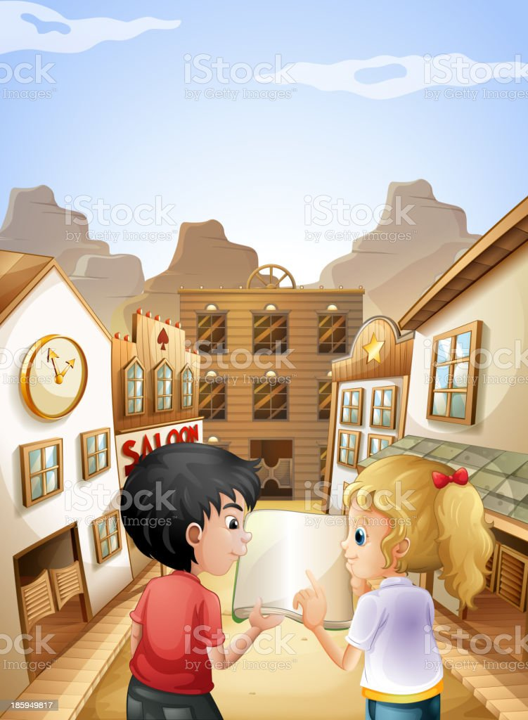 boy and girl with empty book talking near saloon bars vector art illustration