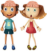 Boy and girl with naked brains
