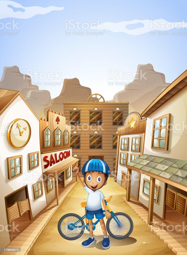 Boy and his bike near the saloon bar vector art illustration