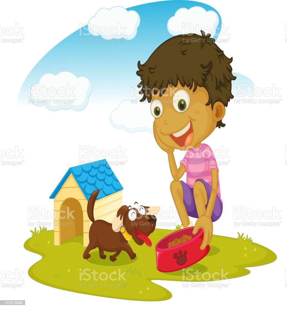 Boy and his dog vector art illustration