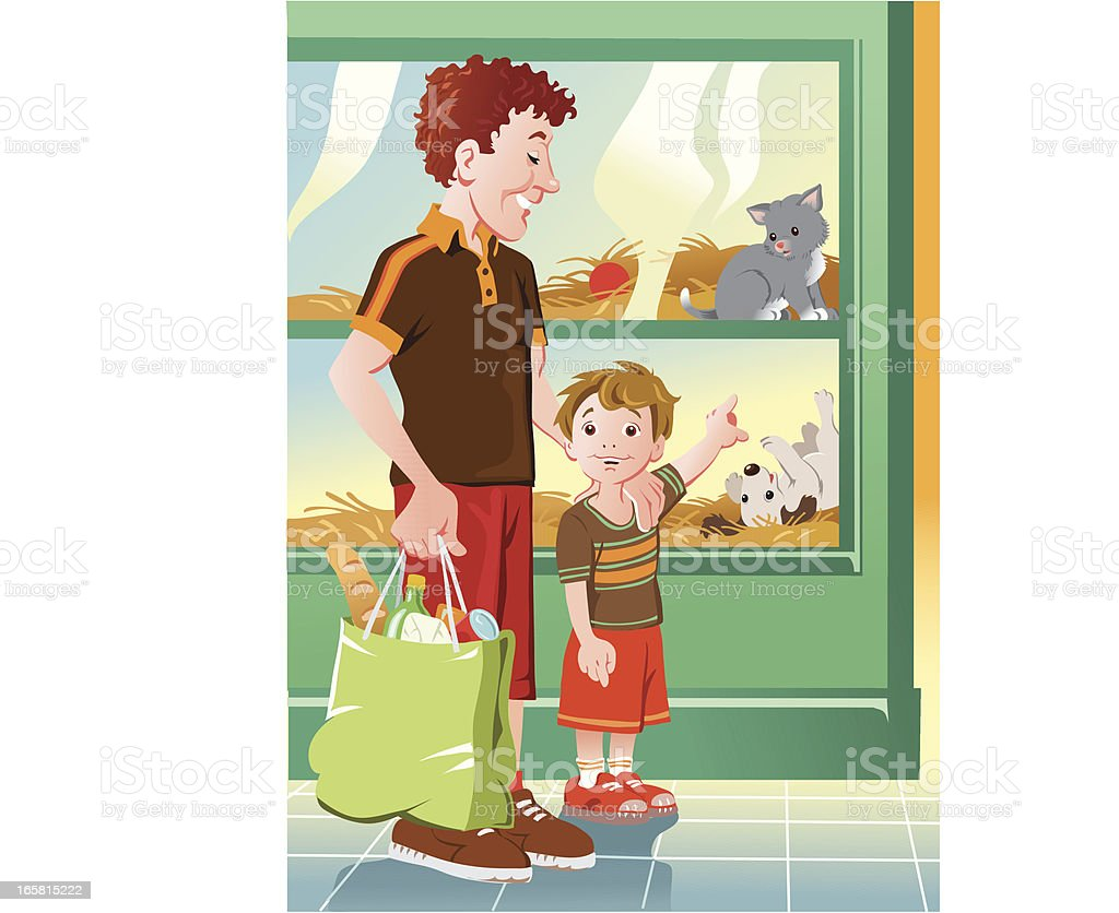Boy and his Father at the Pet Shop vector art illustration