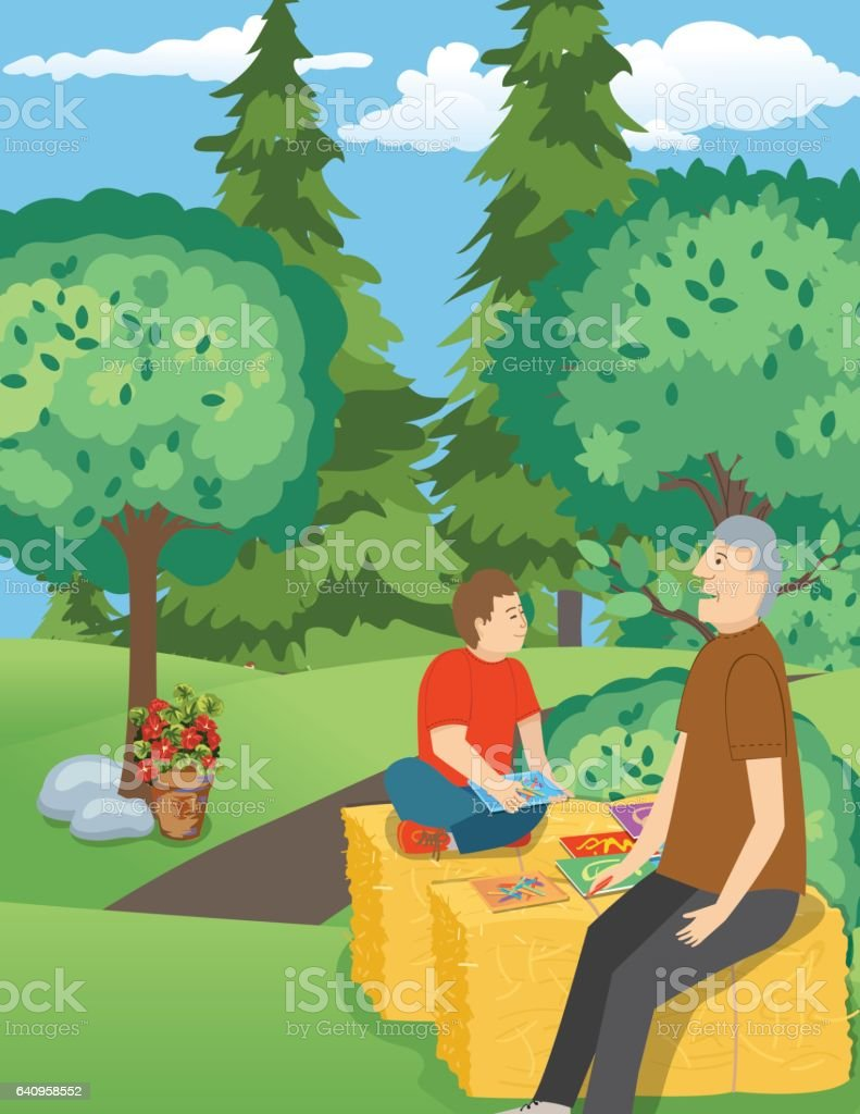 A Boy And His Grandfather Visit The Zoo vector art illustration