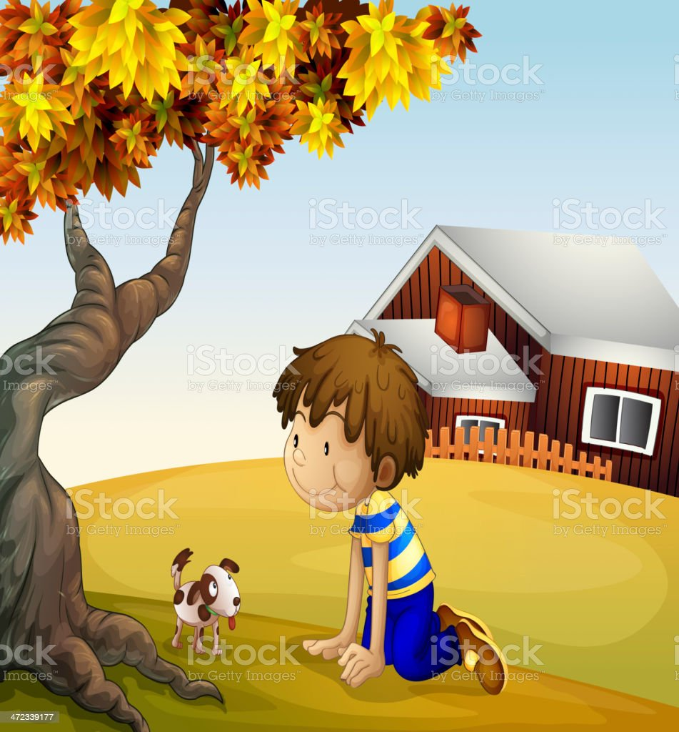 Boy and his puppy under the tree royalty-free stock vector art