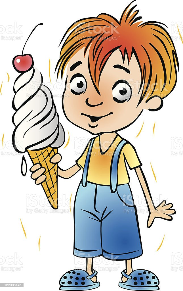 Boy and Ice cream royalty-free stock vector art