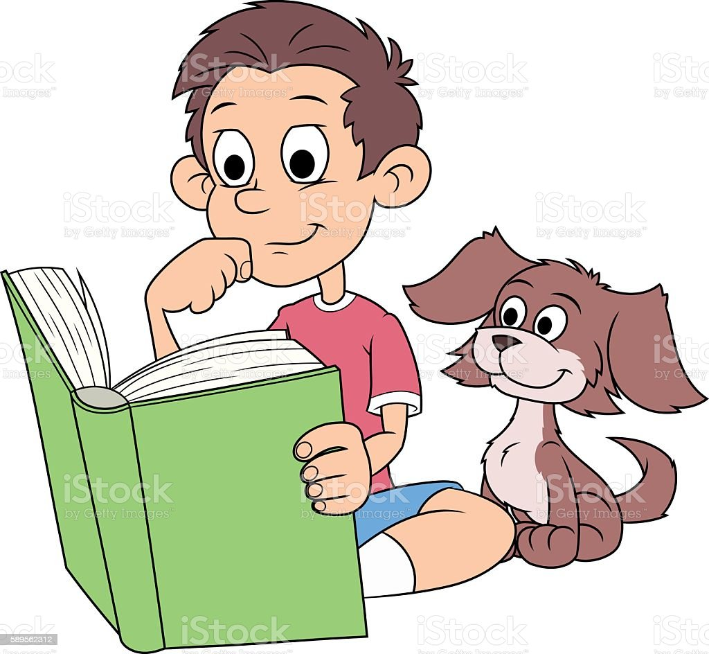 Boy and puppy reading a book 2 vector art illustration