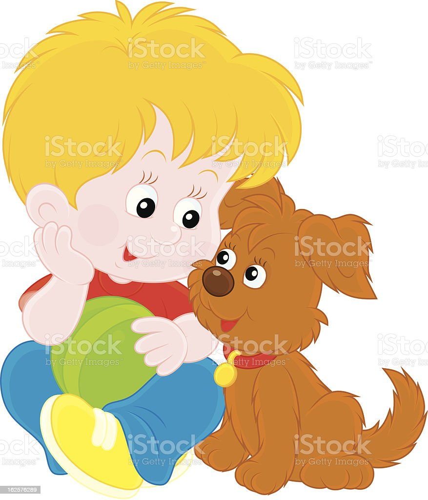 Boy and puppy royalty-free stock vector art
