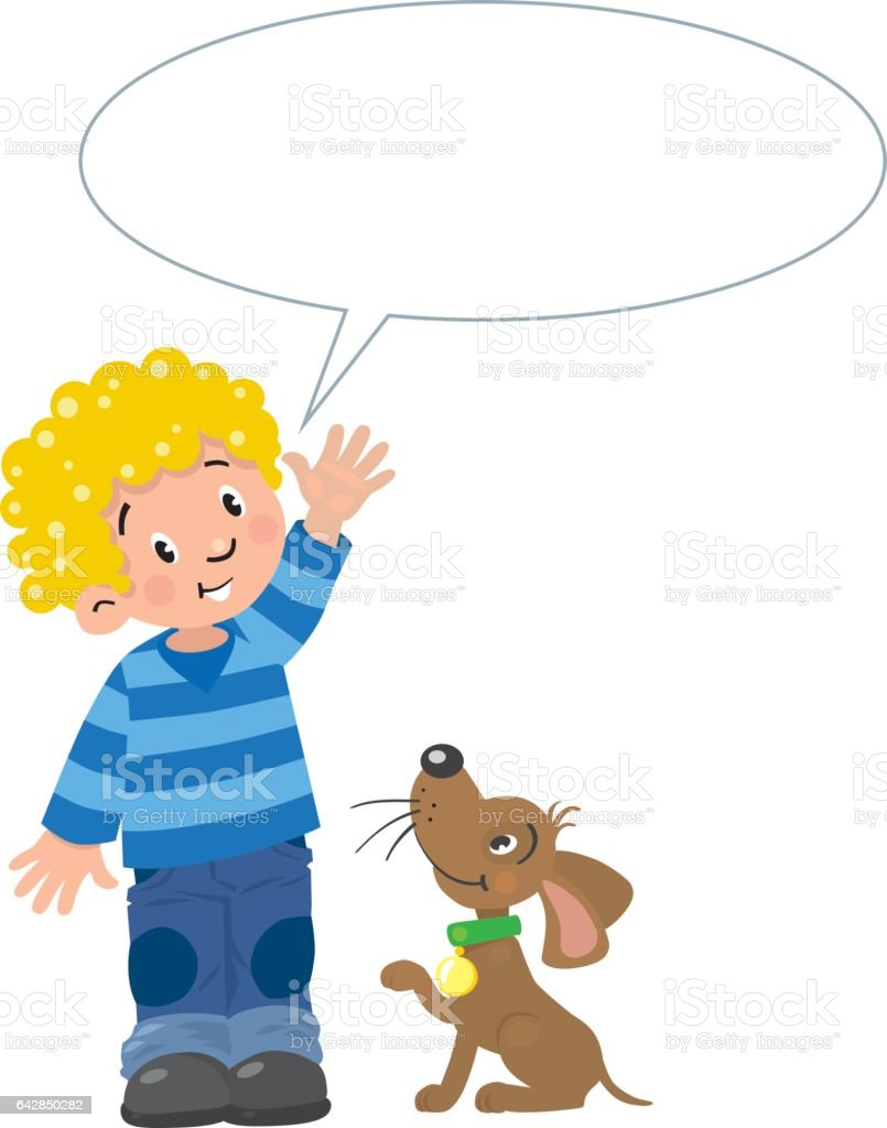 Boy and puppyn with balloon for text vector art illustration