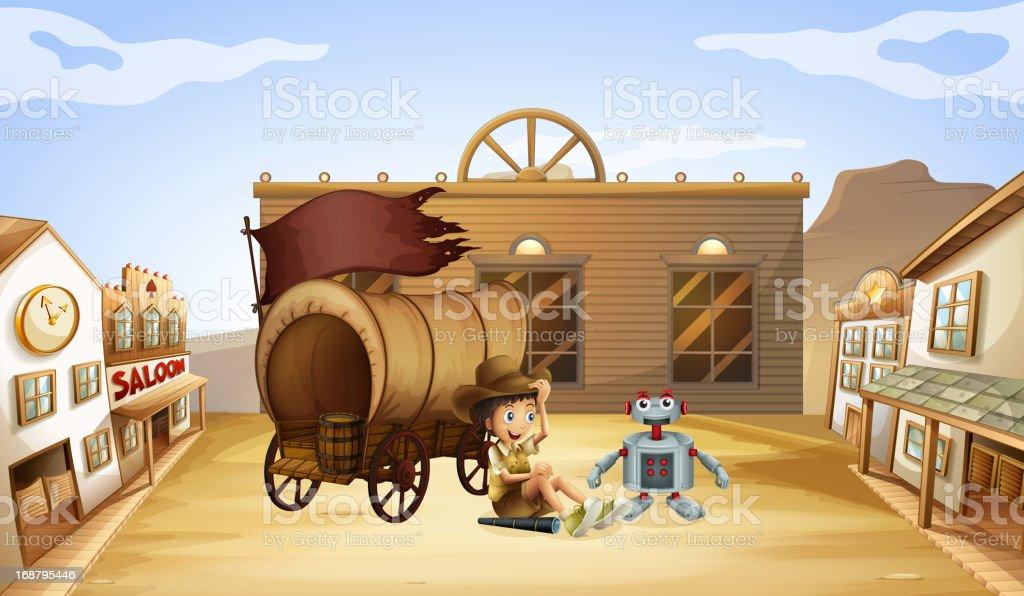 Boy and robot near a wagon royalty-free stock vector art