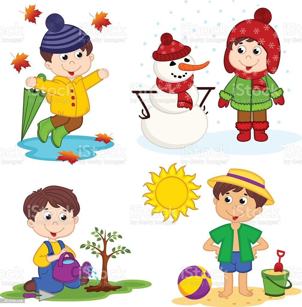 boy and the four seasons vector art illustration