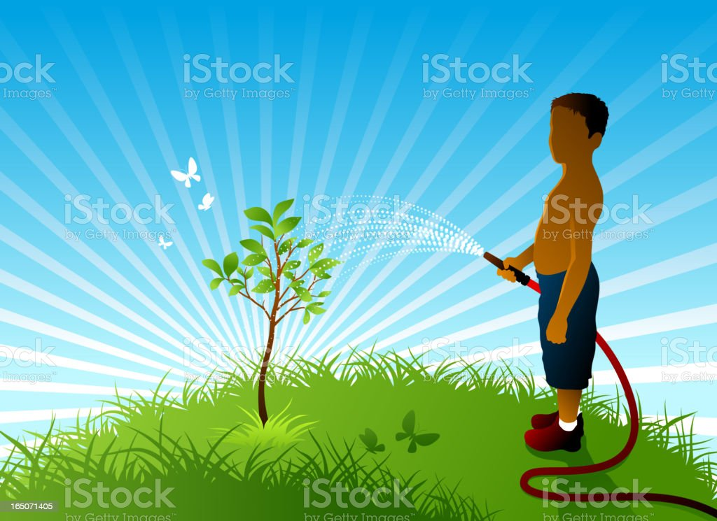 Boy and the tree royalty-free stock vector art