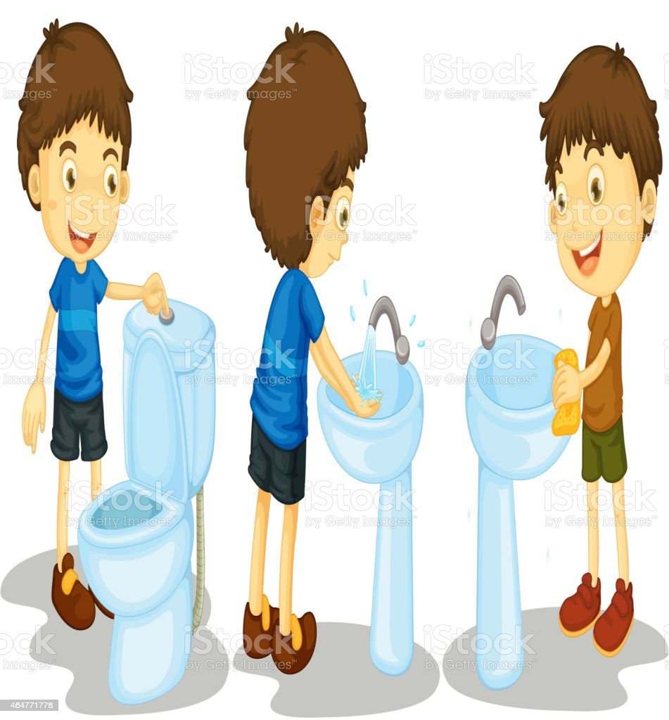 Boy and toilet vector art illustration
