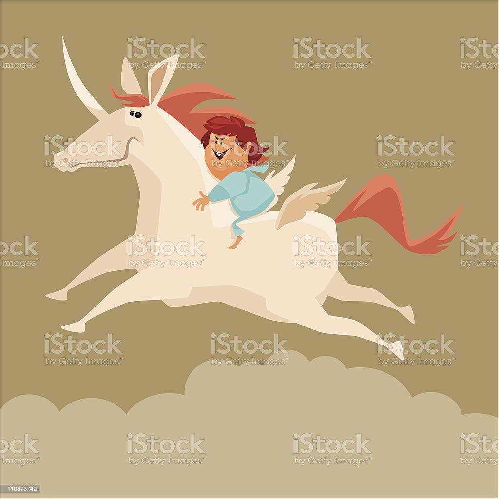 boy and unicorn royalty-free stock vector art