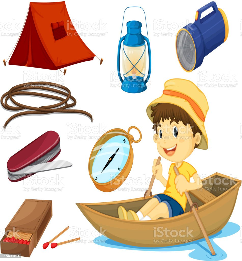 Boy and various objects of camping royalty-free stock vector art