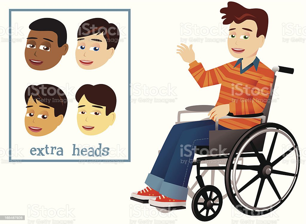 Boy and wheelchair royalty-free stock vector art