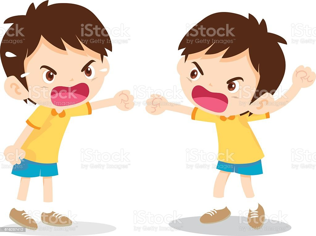 boy angry shouting vector art illustration