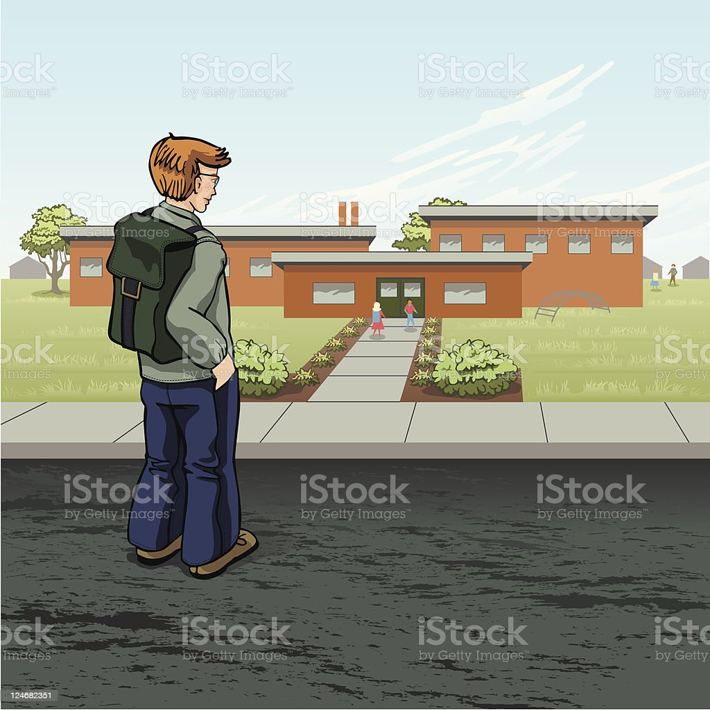 Boy Arrives at School royalty-free stock vector art
