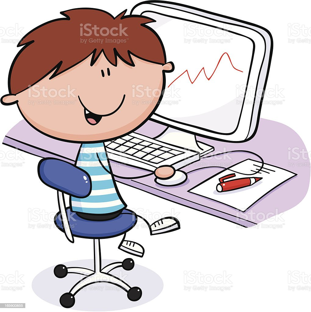 Boy at computer vector art illustration