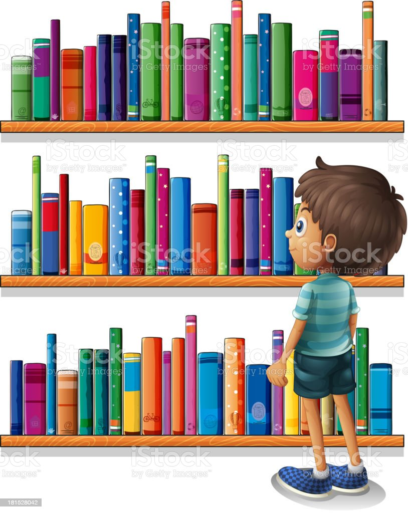 boy at library in front of the bookshelves vector art illustration