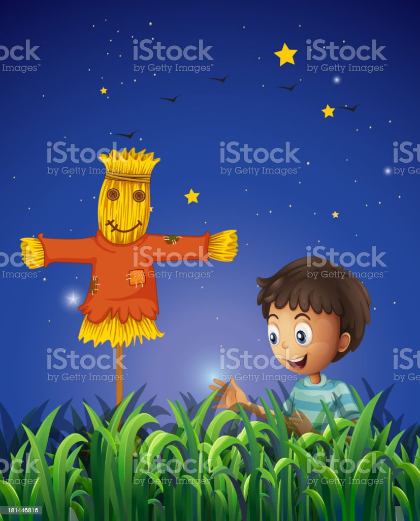 boy at the farm with a scarecrow royalty-free stock vector art