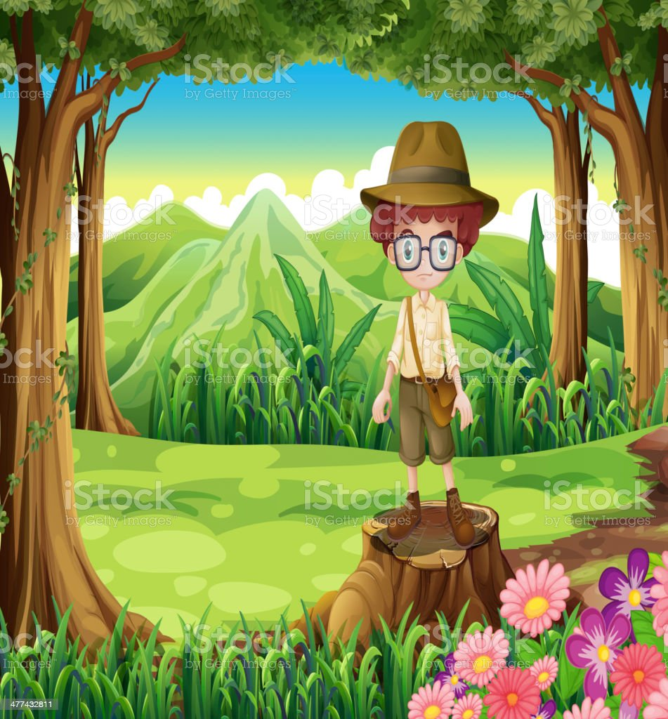 boy at the forest standing above the stump royalty-free stock vector art