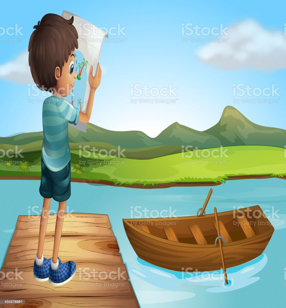 boy at the river with a wooden boat royalty-free stock vector art