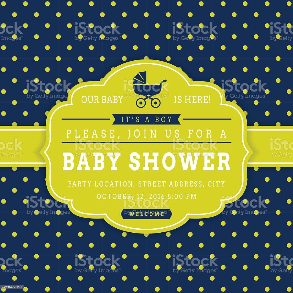 Boy baby shower. Vector card. vector art illustration