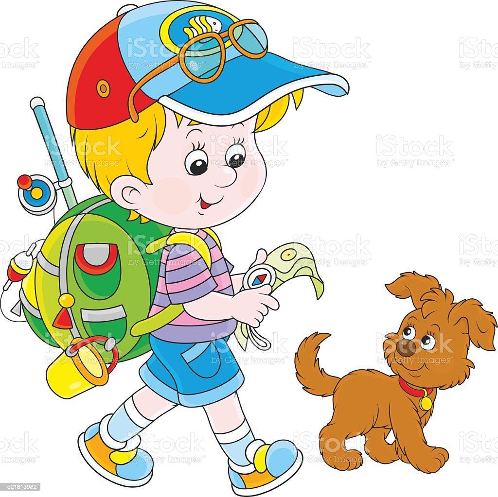 Boy backpacker vector art illustration