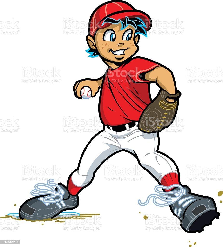 Boy Baseball Pitcher vector art illustration