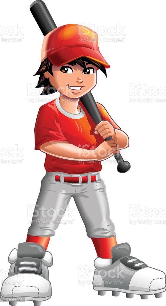 Boy Baseball Player vector art illustration