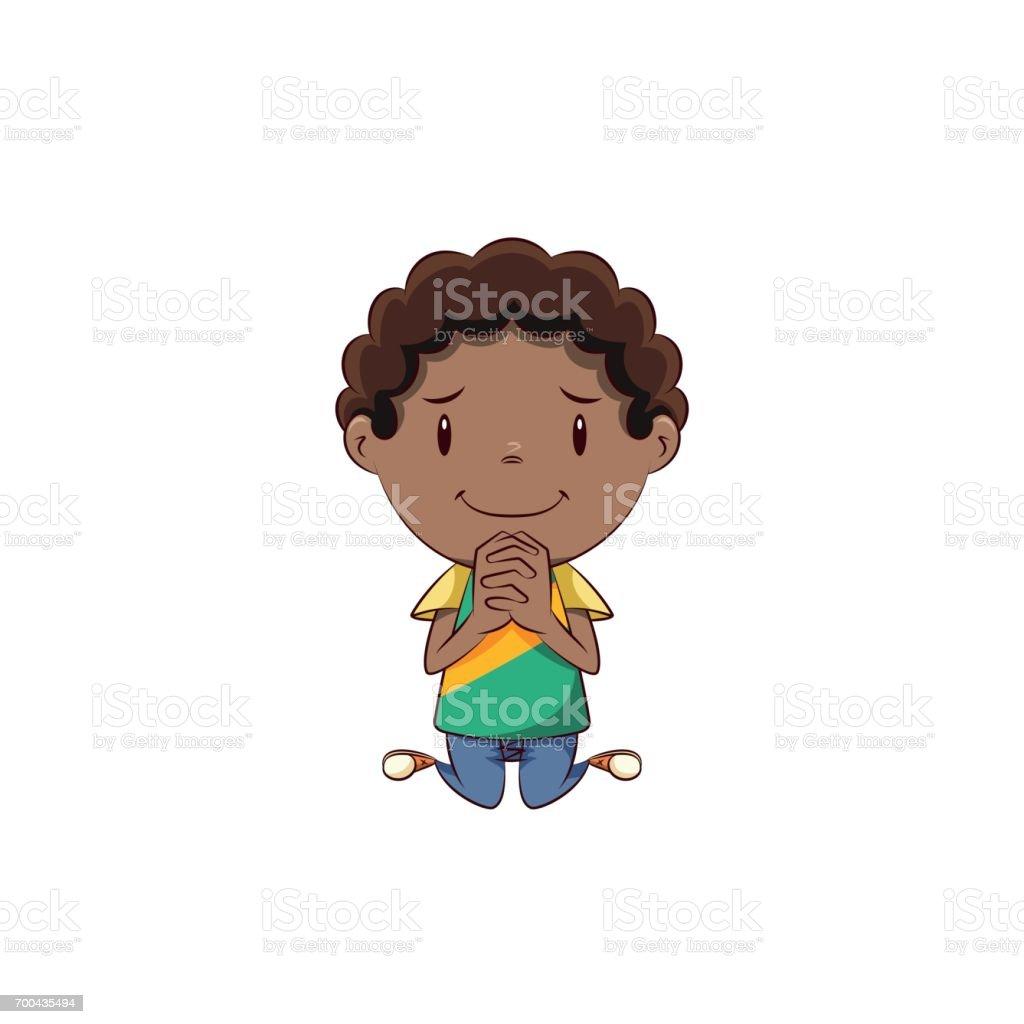 Boy begging vector art illustration