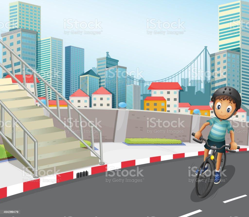 boy biking at the road royalty-free stock vector art