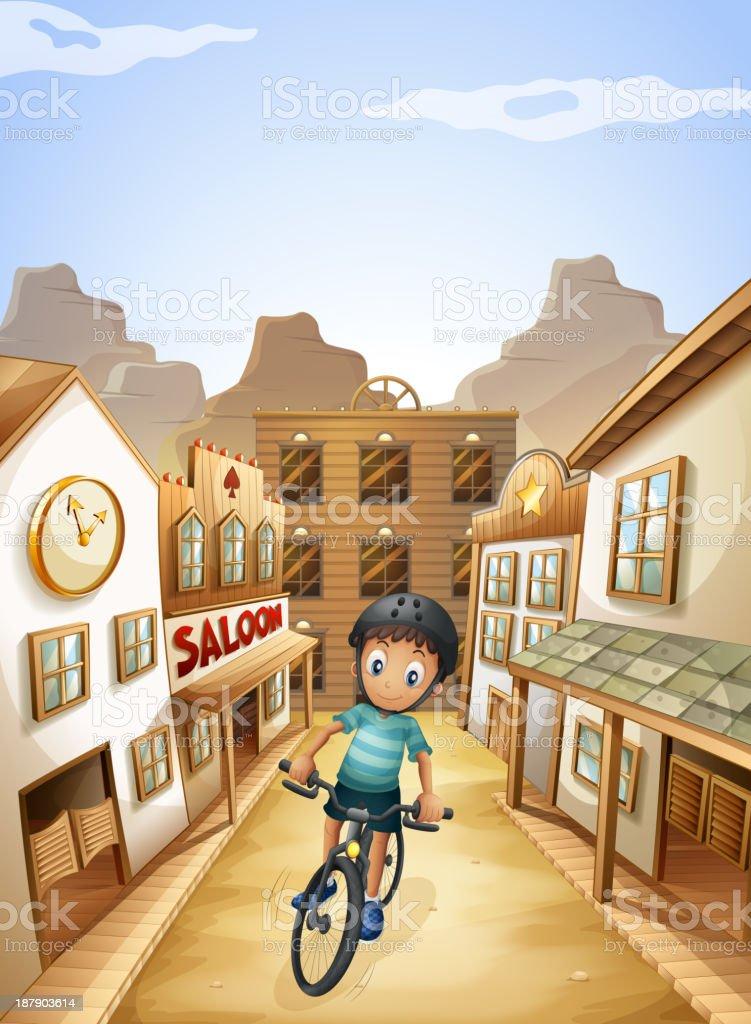 boy biking in the middle of saloon bars vector art illustration
