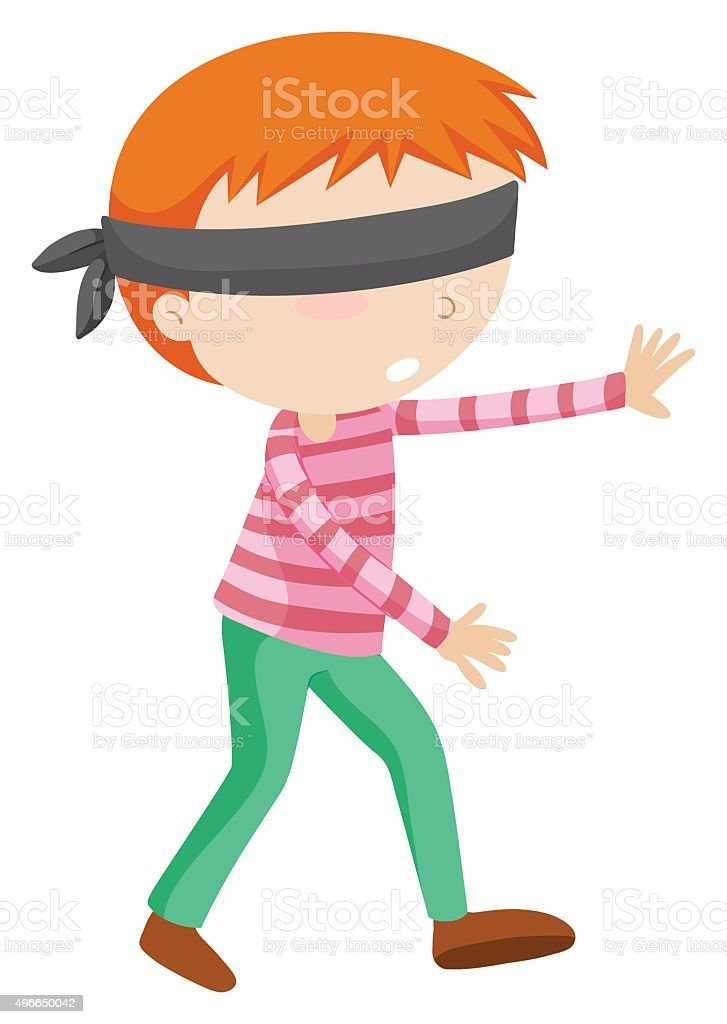 Boy blindfolded walking alone vector art illustration