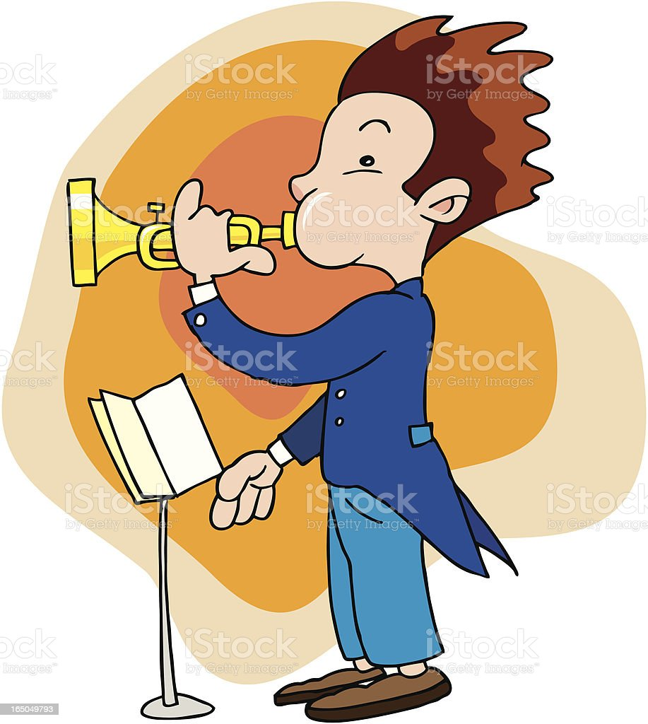 Boy blowing a trumpet royalty-free stock vector art